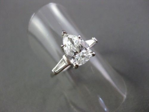 LARGE 3.34CT DIAMOND PEAR ROUND & BAGUETTE PLATINUM INSERT ENGAGEMENT RING #847