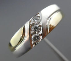 ESTATE .10CT DIAMOND 14KT WHITE & YELLOW GOLD 3D THREE STONE MENS WEDDING RING