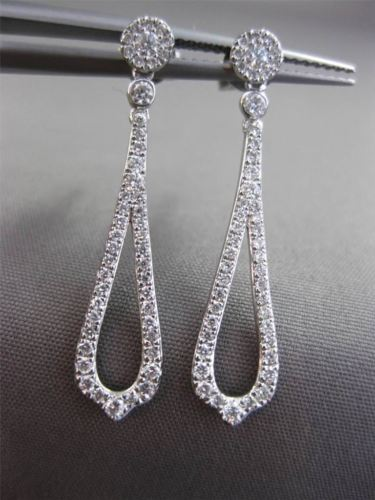 ANTIQUE .44CT DIAMOND 14KT WHITE GOLD TEAR DROP HANGING ELONGATED EARRINGS