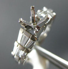 ESTATE .69CT DIAMOND 14KT WHITE GOLD 3D 4 PRONG 3 ROW SEMI MOUNT ENGAGEMENT RING