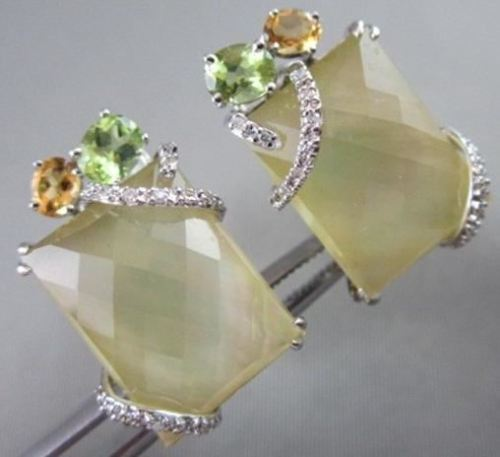 ANTIQUE 14KT WHITE 16.25CTW YELLOW QUARZ & DIAMONDS WITH MULTI GEM EARRINGS!!!!!