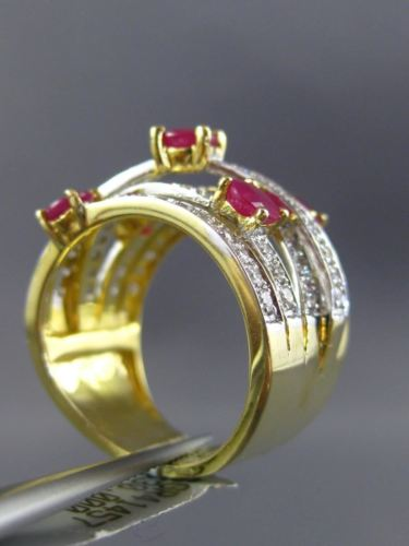 LARGE 2.43CT DIAMOND & AAA RUBY 14KT YELLOW GOLD CRISS CROSS ANNIVERSARY RING