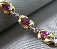 ESTATE WIDE 2.35CT DIAMOND & AAA RUBY 14KT TWO TONE GOLD FLORAL BRACELET #22384