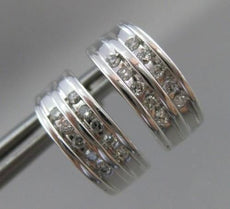 ESTATE .20CT DIAMOND 2 ROW CURVED 14KT WHITE GOLD HANGING EARRINGS CUTE!! #ELV27