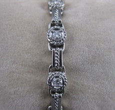 "ANTIQUE 1CTW DIAMOND 14KT WHITE GOLD BEZEL ROPE FILIGREE BRACELET 6MM 7"" #18775"