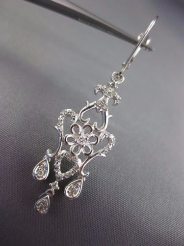 LARGE .33CT DIAMOND 14KT WHITE GOLD OPEN FILIGREE LEVER BACK CHANDELIER EARRINGS