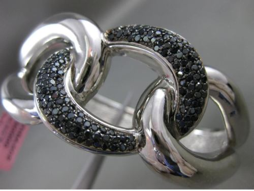 ESTATE EXTRA WIDE 1.80CT BLACK DIAMOND 14K WHITE GOLD LOVE KNOT BANGLE BRACELET