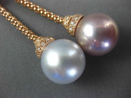 LARGE .30CT DIAMOND & WHITE PINK SOUTH SEA PEARL 18KT ROSE GOLD LARIAT NECKLACE