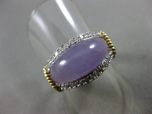 ESTATE WIDE DIAMOND & PURPLE LAVENDER JADE 14K 2 TONE GOLD FILIGREE RING #18217