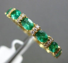 ESTATE 2.62CT DIAMOND & EMERALD 18KT YELLOW GOLD 3D ANNIVERSARY ETERNITY RING