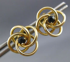 ESTATE .25CT AAA SAPPHIRE 14KT YELLOW GOLD 3D LOVE KNOT STUD EARRINGS #20858