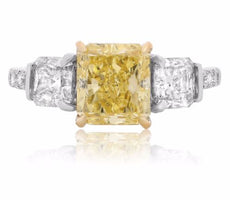GIA CERTIFIED 3.98CT WHITE & FANCY YELLOW DIAMOND 18K 2TONE GOLD ENGAGEMENT RING