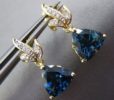4.22CT DIAMOND & AAA LONDON BLUE TOPAZ 14KT YELLOW GOLD 3D LEAF HANGING EARRINGS
