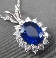 ESTATE LARGE 3.23CT DIAMOND & AAA SAPPHIRE 14KT WHITE GOLD OVAL FLOATING PENDANT