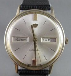 ANTIQUE 18KT GOLD ROUND FACE Jules Jurgensen AUTOMATIC DATE MEN'S WATCH CLASSIC!