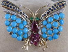 ANTIQUE X LARGE DIAMOND RUBY SAPPHIRE TURQUOISE 14K W&Y GOLD BUTTERFLY PIN #2187