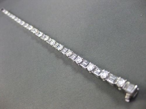 ESTATE WIDE 9.29CT ROUND & BAGUETTE DIAMOND PLATINUM BRACELET E VVS STUNNING 257