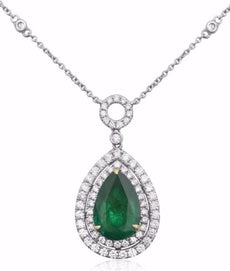ESTATE 4.37CT DIAMOND & AAA EMERALD 18K 2 TONE GOLD CIRCLE OF LIFE HALO NECKLACE
