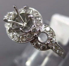 ESTATE WIDE .74CT DIAMOND 14KT WHITE GOLD 3D FILIGREE SEMI MOUNT ENGAGEMENT RING