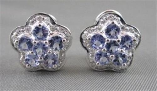 ANTIQUE 14KT WHITE GOLD 2.74CT DIAMOND & TANZONITE FLOWER STUD EARRINGS