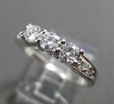 ESTATE .60CT DIAMOND 14KT WHITE GOLD 3 STONE WEDDING ANNIVERSARY RING #22946