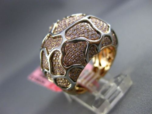 ESTATE MASSIVE 1.41CT DIAMOND 18KT WHITE & ROSE GOLD 3D PEBBLED LOOK PAVE RING