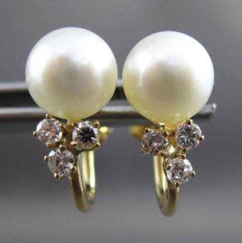 ANTIQUE .30CT DIAMOND & PEARL 14KT YELLOW GOLD SCREW BACK HANGING EARRINGS 23871