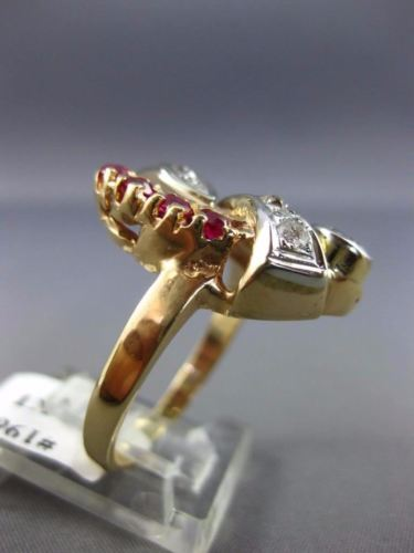 ANTIQUE LARGE 1.65CT OLD MINE DIAMOND & RUBY 14KT ROSE & WHITE GOLD 3D RING 1967