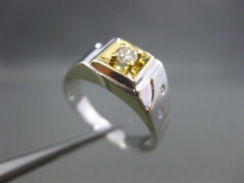 ESTATE .20CT OLD MINE DIAMOND 14KT TWO TONE GOLD SQUARE MENS GYPSY RING #1234