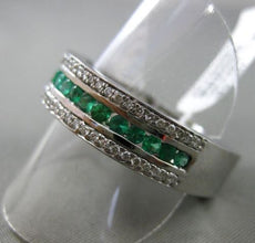 ESTATE LARGE 1.32CT DIAMOND & EMERALD 14K WHITE GOLD 3D 3 ROW FILIGREE MENS RING