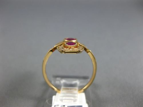 ESTATE WIDE .80CT DIAMOND & AAA RUBY 18KT ROSE GOLD THREE STONE ANNIVERSARY RING