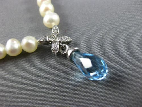 ESTATE 1.62CT DIAMOND BLUE TOPAZ & PEARL 14KT WHITE GOLD FLOWER NECKLACE #25584