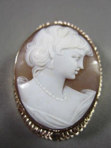 ANTIQUE 14K YELLOW GOLD LADY SHELL CAMEO FILIGREE 44MM X 34MM PENDANT PIN #21882