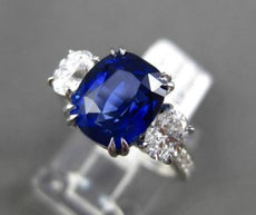 ANTIQUE 5.32CT DIAMOND & AAA SAPPHIRE PLATINUM 3 STONE OVAL ENGAGEMENT RING EVVS