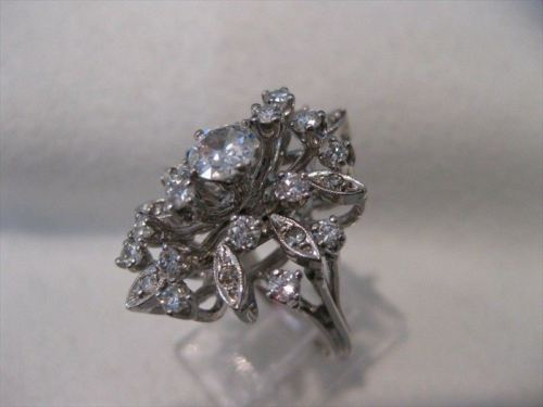 ANTIQUE 1.14CT OLD EURO MINE CUT DIAMOND 14K WHITE GOLD COCKTAIL RING F/G #18807