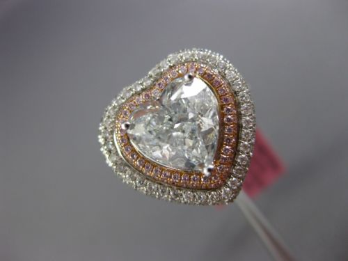 GIA EXTRA LARGE 4.34CT MULTI COLOR DIAMOND 18K 2 TONE GOLD HEART ENGAGEMENT RING
