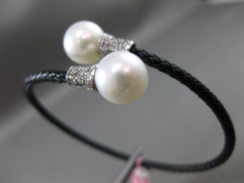 ESTATE .13CT DIAMOND & PEARL 14KT WHITE BLACK GOLD FLEXIBLE ROPE BANGLE BRACELET