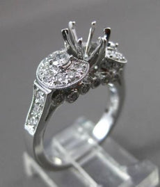 ANTIQUE WIDE .80CT DIAMOND 18KT WHITE GOLD 3D SEMI MOUNT ENGAGEMENT RING #14399