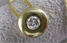 ESTATE ROUND DIAMOND ETOILE SOLITAIRE 14K GOLD FLOATING NECKLACE BOX CHAIN #3356