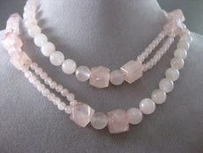 ESTATE LONG AAA PINK QUARTZ GOOD LUCK HAND CRAFTED NECKLACE BEAUTIFUL #2504