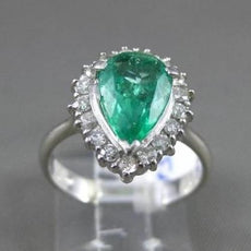 ESTATE WIDE 3.07CT DIAMOND & EMERALD PLATINUM 3D PEAR SHAPE HALO ENGAGEMENT RING