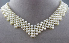 ESTATE 925 SILVER AAA SOUTH SEA PEARL 3D MULTI STRAND CHOKER NECKLACE #25359