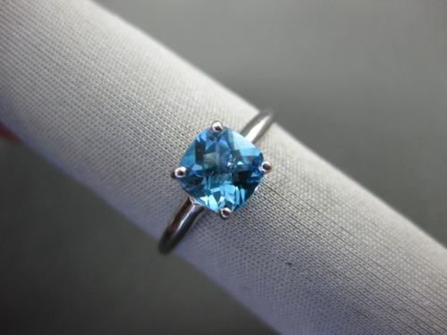 ESTATE 1.20CT AAA BLUE TOPAZ 14KT WHITE GOLD 3D SQUARE SOLITAIRE PROMISE RING