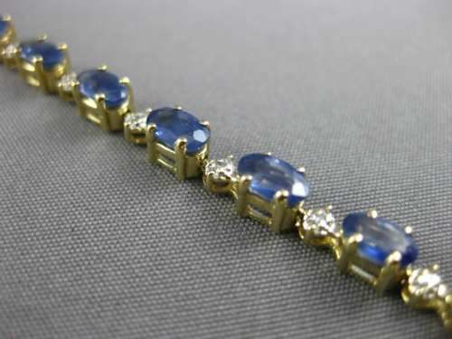 LARGE 6.46CT DIAMOND & AAA SAPPHIRE 14KT WHITE & YELLOW GOLD 3D TENNIS BRACELET