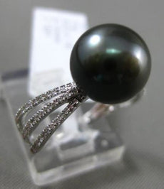 ESTATE LARGE .18CT DIAMOND 14KT WHITE GOLD AAA TAHITIAN PEARL 3D 3 ROW RING