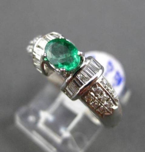 ANTIQUE 2.01CT DIAMOND & AAA OVAL EMERALD 18KT WHITE GOLD 3D ENGAGEMENT RING