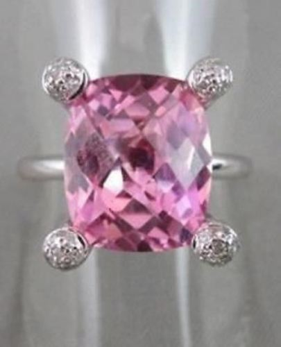 ESTATE WIDE SQUARE AAA PINK QUARTZ & DIAMOND 8.98CTW 14KT WHITE GOLD RING