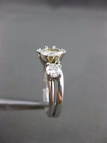ANTIQUE WIDE .95CT MARQUISE & ROUND DIAMOND 14K WHITE GOLD ENGAGEMENT RING 18478