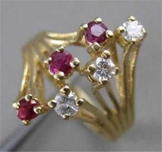 ANTIQUE WIDE DIAMOND RUBY 14K YELLOW GOLD OPEN FILIGREE COCKTAIL RING 18MM 21467