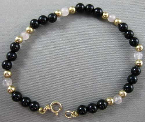 ESTATE MOTHER OF PEARL & ONYX 14K YELLOW GOLD 3D HANDCRAFTED BEAD BRACELET 25134
